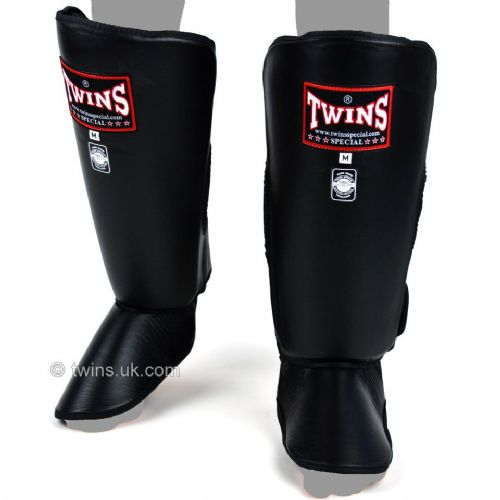 Twins Thick Padded Shin Guards - Black
